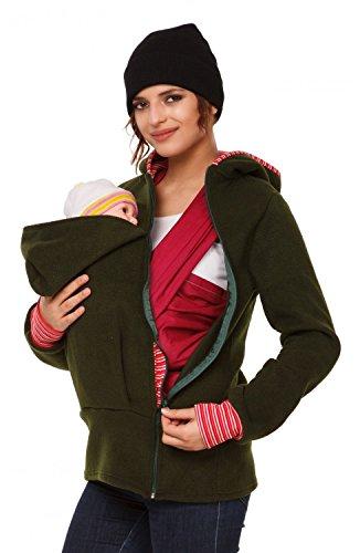 Happy Mama. Femme sweat à capuche duo porte-bébé maternité laine polaire. 032p Kaki
