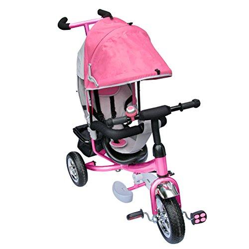Kinderdreirad mit pink, Kinderfahrrad, Korb, drehbare Lenkstange SERVOLENKUNG mit Steuerung, Beinstellen, Dreiräder, Das verstellbare...