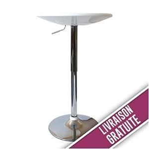Table de Bar réglable en hauteur blanche et chromée