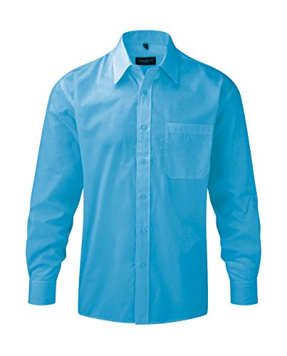 Z934 Langarm Popeline-Hemd Oberhemd Herren Hemd Russell S / 37/38,Turquoise