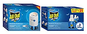 All Out Adjustable Liquid Electric with Power Slider Machine and Ultra Triple Refill Set, Blue