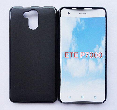 Prevoa ® 丨Transparent Silikon TPU Hülle Case Schutzhülle Tasche für Elephone P7000 4G Android Unlocked Smartphone - (Schwarz)