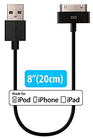 [Apple MFi Certified] HomeSpot 30 Pin compatible USB Cable, compatible with iPhone 4, iPhone 4S, iPad 1/2/3, iPod touch, iPod nano, High Quality (20 centimeters, Black)