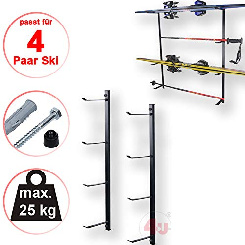 4U® Skihalter Skiträger Skistöcke Ski Aufbewahrung Wandhalter Halter für 4 Paar Gerätehalter Wandmontage