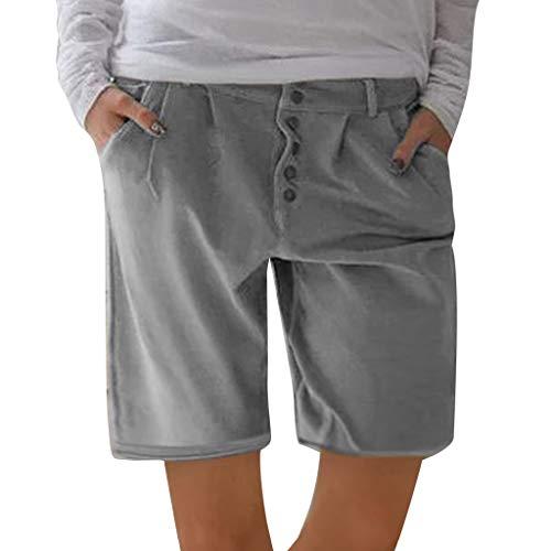 Yvelands Damen Shorts, Mode Frauen solide Knöpfe Baumwolle und Leinen Taschen Casual Vintage Short Pants(Grau,S) 2t 4t Bottoms Jeans