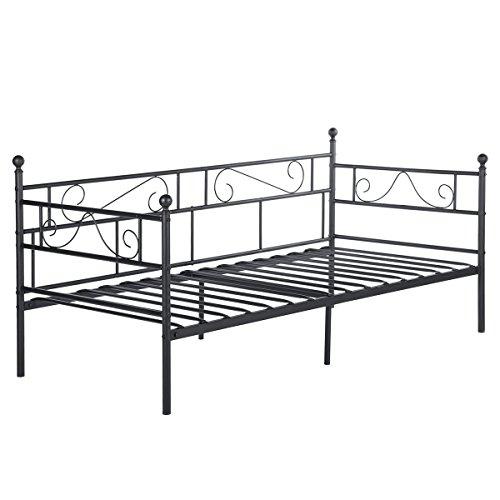 DORAFAIR Tagesbett Ausziehbett Bettsofa Schlafsofa Optionen Metallbett Für  Ausziehbett ,Tagesbett Mit Unterbett Trundle,Schwarz