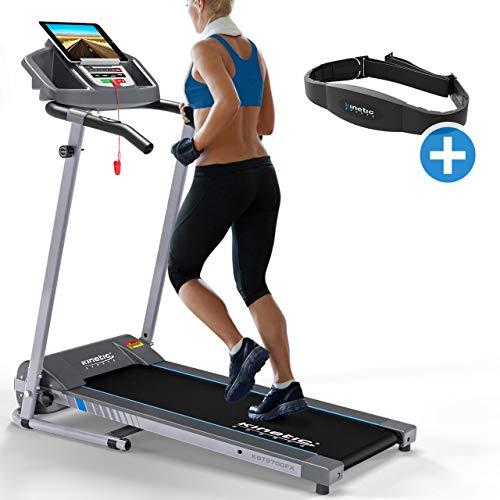Kinetic Sports KST2700FX Laufband inkl. Pulsgurt klappbar elektrisch 500 Watt leiser Elektromotor 12 Pogramme, bis 120 kg, GEH- und Lauftraining, Tablethalterung, stufenlos einstellbar bis 10 km/h