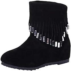 ZARLLE Zapatos De Mujer Botas Cortas De Mujer Botines Moda OtoñO Invierno Mujer OtoñO Invierno Cuero Nobuck Calentar Botas De Flecos Con Cuentas Zapatos