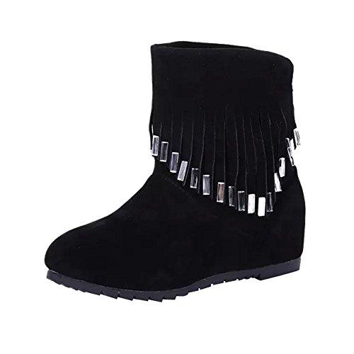 Stiefel Damen Schuhe SUNNSEAN Frauen Stiefeletten Mode Flache Niedrige Slip-On Quaste Stiefeletten Freizeitschuhe Martin Stiefel Kurze Stiefel Keilabsatz