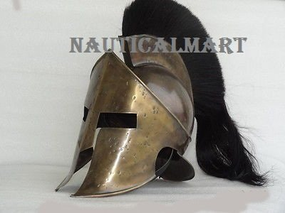 Medieval Larp King Leonidas Spartan 300 Movie Helmet W/ Black Plume