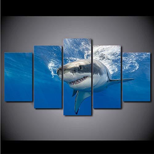 dsfytrew Kein Rahmen Moderne Hd Gedruckt Leinwand Malerei Wandkunst Bild 5 Stücke Tiefblauen Großen Sea Shark Küche Restaurant Dekoration Wohnzimmer