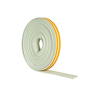 STORMGUARD 05SR033010MW 10m EPDM 'E' Profile Self-Adeshive Rubber Draught Excluder-White, L-10 Metres W-9mm H-3mm