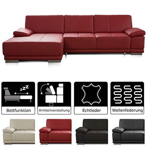 CAVADORE Schlafsofa Corianne mit Longchair links / Ledercouch in modernem Design / Inkl. beidseitiger Armteilverstellung / 282 x 80 x 162 / Echtleder rot
