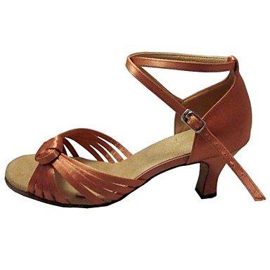 Silence @ Femme latine Sandales Talon en satin Chaussures de danse à bout ouvert pour femme pêche