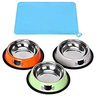 3 Piece Cat Food Bowl, Queta Stainless Steel Cat Bowl Set Feeding Bowl Cat Food Bowl Water Feeding Bowl with a Bowl Mat 41R 2BbNK1e4L
