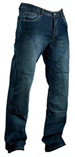 Juicy Trendz Herren Motorradrüstung Biker Motorrad Denim Hose Jeans Horn Blau, 34W / 30L, Blau