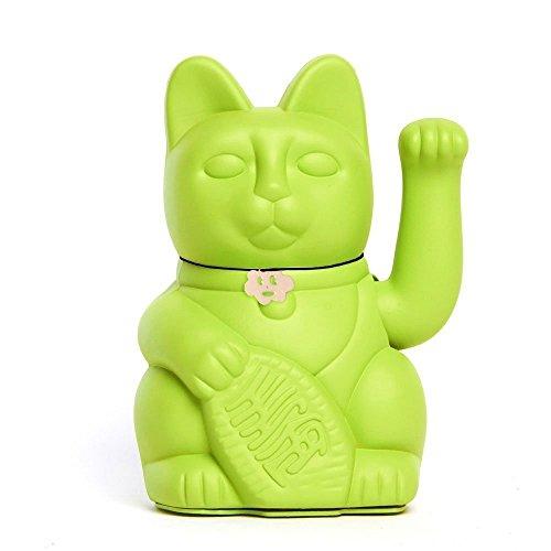 """Gatete. El clásico Gato de la Suerte o la Fortuna o Maneki-Neko en divertidos colores. VERDE MOJITO: """"Suerte para tus hijos"""" 10x6x15cm."""