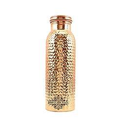 IndianArtVilla Copper Hammered Bubble Design Bottle |1050 ML | for Storage Water Home Restaurant Good Health Benefits