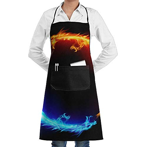 Kostüm Dragon Lady Adult - China Yin Yang Fire Water Dragons Schürze Lace Adult Mens Womens Chef Adjustable Polyester Long Full Black Cooking Kitchen Schürzes Bib With Pockets For Restaurant Baking Crafting Gardening BBQ Grill