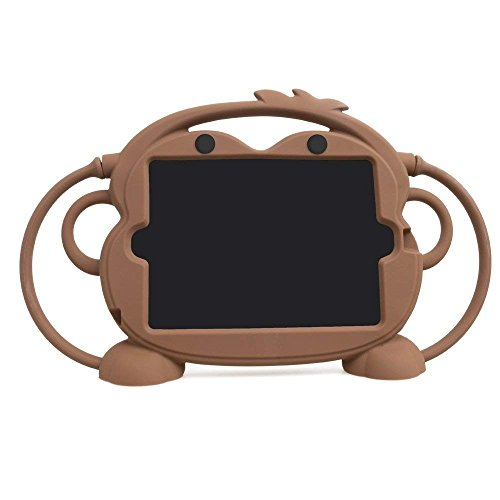 Ipad Mini 4/3/2/1 Hülle, CHINFAI doppelseitigen AFFE Cartoon Shockproof Silikon Tablet Schutzhülle, mehrere Sichtwinkel freistehende Abdeckung für Apple 7,9 Zoll IPad Mini 1/2/3/4 (Braun)