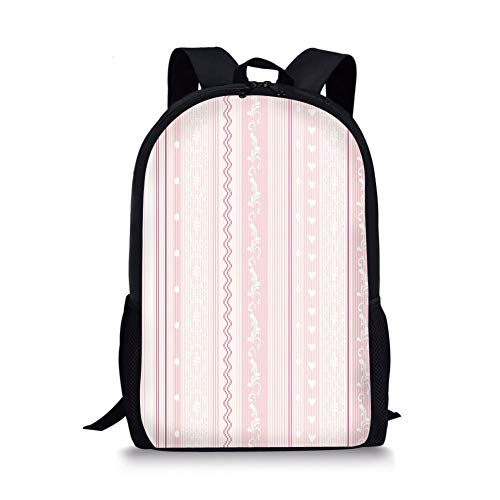 School Bags Light Pink,Vertical Decorative Borders Floral Figures Little Hearts Lines Zigzag Decorative,Pink Light Pink White for Boys&Girls Mens Sport Daypack (Rolling Rucksack Floral)
