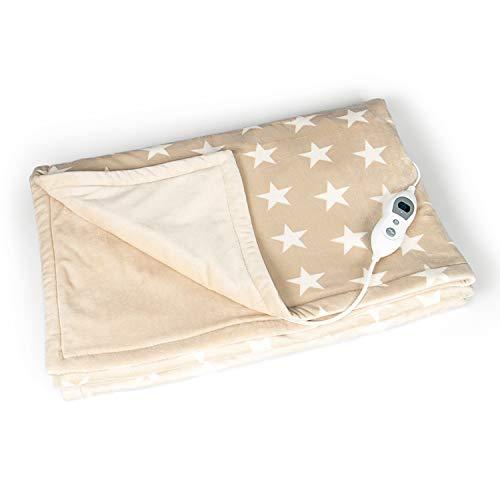 VIDABELLE VD-4510 elektrische Kuschelheizdecke in beige mit cremefarbenen Sternen, Heizdecke mit 6 Heizstufen, Wärmedecke mit Abschaltautomatik, maschinenwaschbar -