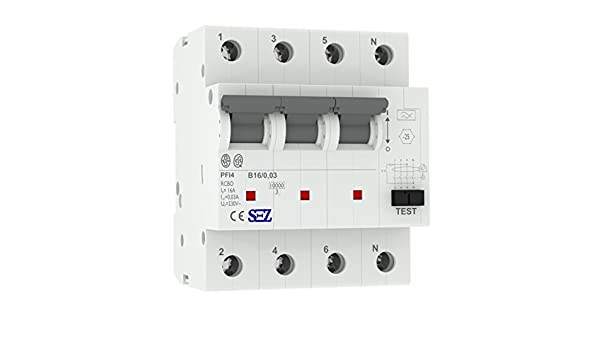 SEZ FI/LS B16A 30mA 4p 10kA RCBO VDE FI/LS-Schalter 0090923 Kombi ...