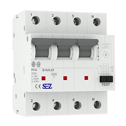 SEZ FI/LS B16A 30mA 4p 10kA RCBO VDE FI/LS-Schalter 0090923 Kombi-Schalter 9951