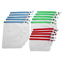 Aeloa Reusable Bags-15Pcs Drawstring Mesh Bags Reusable Sundries Toy Fruit Vegetable Storage Punch, 3 Sizes