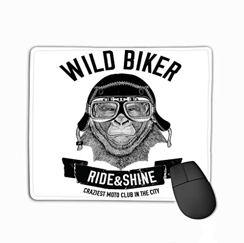 Custom Mouse Pad,11.81 X 9.84 Inch Unique Printed Mouse Mat Design Vintage Images Gorilla Monkey Design Motorcycle Bike Motorbike Scooter Club aero Club Hand Drawn Image -