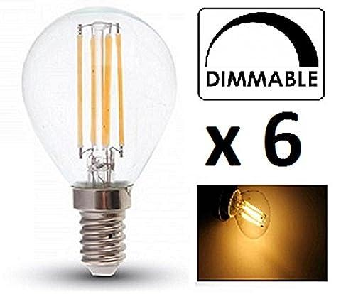 V-TAC Dimmable LED Ampoules à filament P45–Lot de 6unités–E14/SES/Petit culot à vis Edison–– 4W–blanc chaud 2700K/Verre/finition Look à incandescence classique/20000heures durée de vie moyenne/non dimmable/230V–Angle de faisceau 300°/SKU: 4394