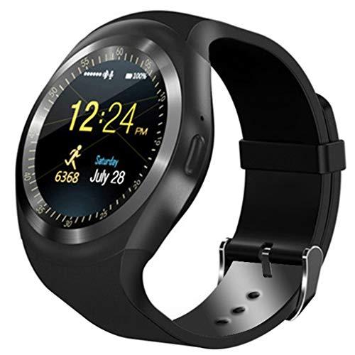 Haludock Quad-Band Aufruf Y1 Smart Watch Bluetooth Phone Mate runden Bildschirm Schrittzähler Remote Fotos Sport-Modus für iOS Android-Handy viel (Quadband Handy Uhr)