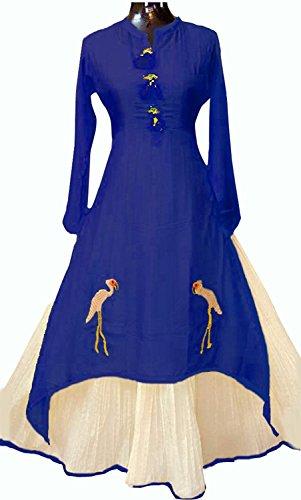 Clothfab Women's Chanderi Cotton Party Wear Full Stitched Western Kurti (Blue-Colour-X-Large)