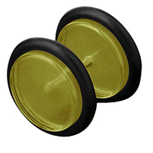 ke Ohr Plug Flesh Tunnel Piercing Ohrstecker Stecker Stab Runde Platte UV Hantel Kunststoff Gelb 8mm ()