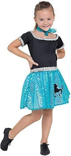 Vintage Buch Kostüm - Fancy Me Mädchen 1950s Jahre 50s Jahre Pudel Paillette gepunktet Retro Vintage TV Buch Film Kleid Kostüm Kleid Outfit 4-10yrs Jahre - Blau, 7-9 Years
