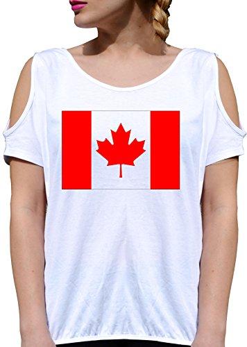 T SHIRT JODE GIRL GGG27 Z0221 CANADIAN FLAG LEAF NATION LOGO FUN FASHION COOL BIANCA - WHITE