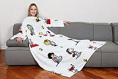 Idea Regalo - Kanguru Deluxe Snoopy Bianca, coperta con le maniche e tasca centrale, in soffice pile, 140x180 cm