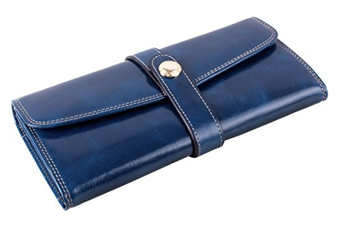 LH SAIERLONG Damen Organizer Key Wallet Blau Wax Echtes Leder Brieftasche