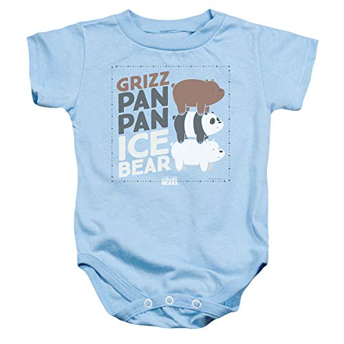 We Bare Bears - - Tout-Petit Grizz Pan Pan Ice Ice Onesie, 6 Months, Light Blue