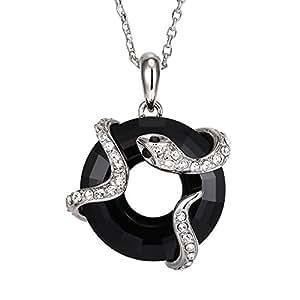 Pendentif Serpent en Cristal de Swarovski Elements Noir et Plaqué Rhodium -Blue Pearls-CRY E233 J