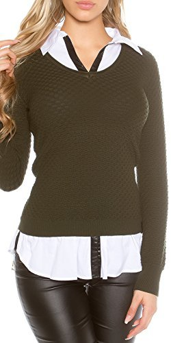Koucla femmes 2 en 1 chemise blouse pull pull sweat Structure col en V Kaki