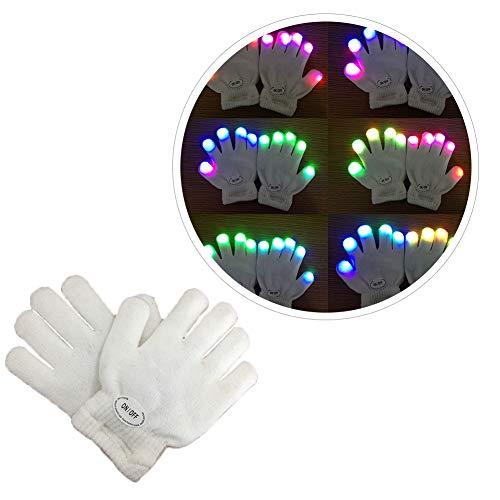 (Urmagic LED Leuchtende Handschuhe blinkende Bunte Finger Gloves Spielzeuge Skeleton Tanzen Regenbogen Kinder Mädchen Junge beleuchten handschuh Leuchtend Fingerspitzen Unisex Weihnachten Karneval)