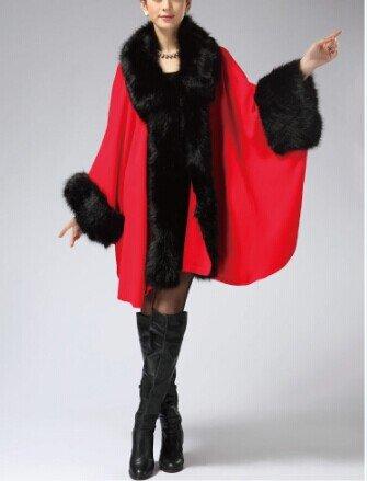 PLAER aux femmes Faux Fox Fur Châle Cape revêtement European American Cardigan de style Jacket Rouge