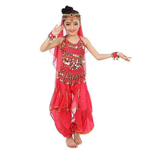 Zolimx Kinder Bauchtanz Kostüme Kinder Mädchen Bauchtanz Ägypten Tanzkleidung Kurzarm Rotierende Hosen Kostümanzug (Ausgenommen Schleier und Zubehör)