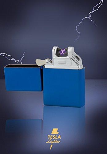 TESLA Lighter T03 | Lichtbogen Feuerzeug, Plasma Single-Arc, elektronisch wiederaufladbar, aufladbar mit Strom per USB, ohne Gas und Benzin, mit Ladekabel, in edler Geschenkverpackung, Blau