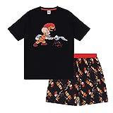 Looney Tunes - Herren Schlafanzug - kurz - mit Space Jam, Taz, Daffy Duck oder Elmer Fudd - Offizielles Merchandise - Schwarz - Elmer Fudd - XXL