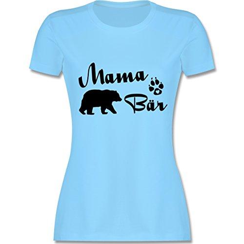 Shirtracer Muttertag - Mama Bär Lettering - Damen T-Shirt Rundhals Hellblau