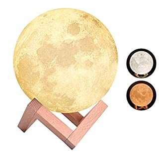 Moon Lamp, Magifire Moon Night Light 2 Colors 3D Printing Tap Control Moon Light Seamless Lunar Night Light with Wooden Stand-Christmas Best Gift for Kids and Girl Friends(15 cm/ 5.9 in)