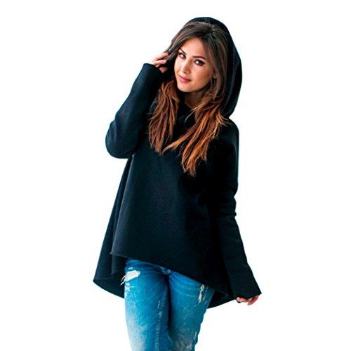 Hevoiok Damen Stern Drucken Hoodie Pullover Bluse, Neu Mode Winter Sexy Casual Charmant Schal Kragen Sweatshirt Jumper Oberseite Frauen Dicke Langarm Shirt (Schwarzer, XL) (Stretch-knit Bluse)