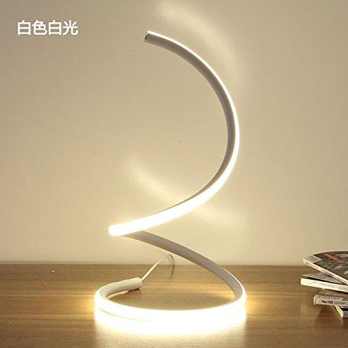 Lámpara de mesilla minimalista y moderno dormitorio matrimonio habitación personalidades artísticas creativas casa elegante salón lámpara, blanco blanco, Interruptor de botón